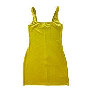 URBAN OUTFITTERS | Yellow Hailey Velvet Mini Dress